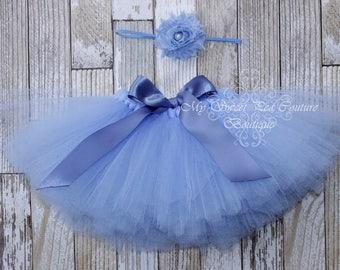 Blue Tutu & Headband Set- Tutu- Princess Tutu- Baby Tutu- 1st Birthday Tutu- Cake Smash Tutu- Birthday Tutu- First Birthday-Photo Prop