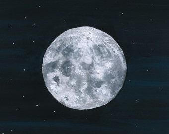 Moon - gouache on watercolor paper