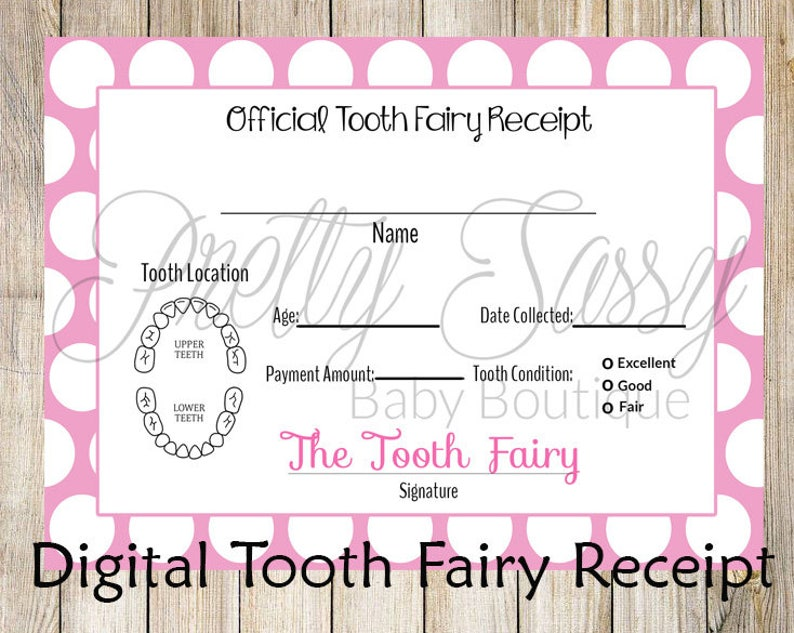 image about Free Printable Tooth Fairy Receipt titled Teeth Fairy Receipt * Printable teeth chart, Immediate Obtain Teeth Fairy Enamel Receipt, Enamel Fairy printables