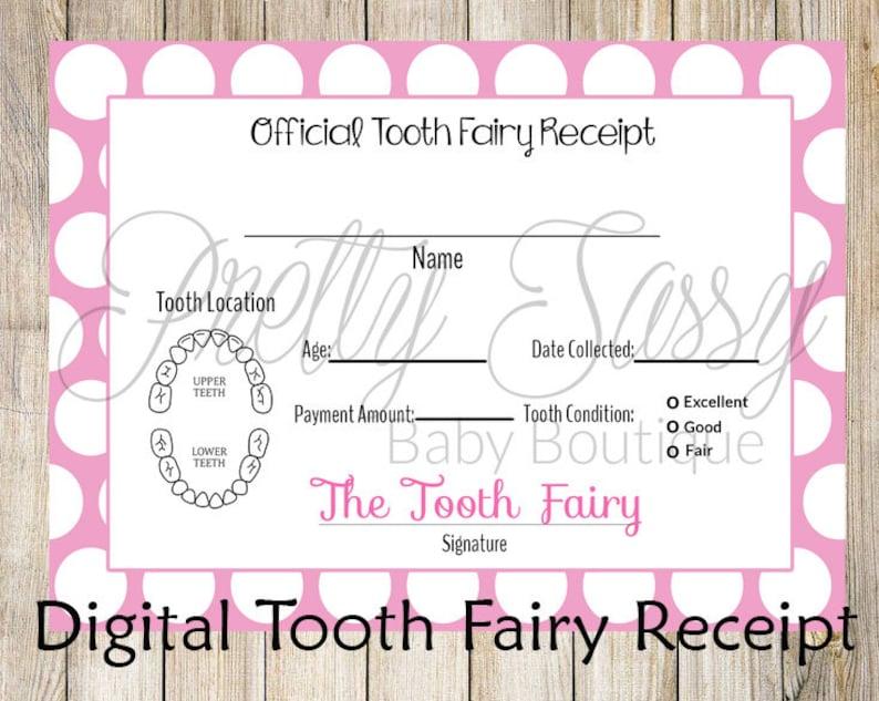 image regarding Printable Tooth Fairy Receipt identified as Teeth Fairy Receipt * Printable teeth chart, Fast Down load Enamel Fairy Teeth Receipt, Enamel Fairy printables