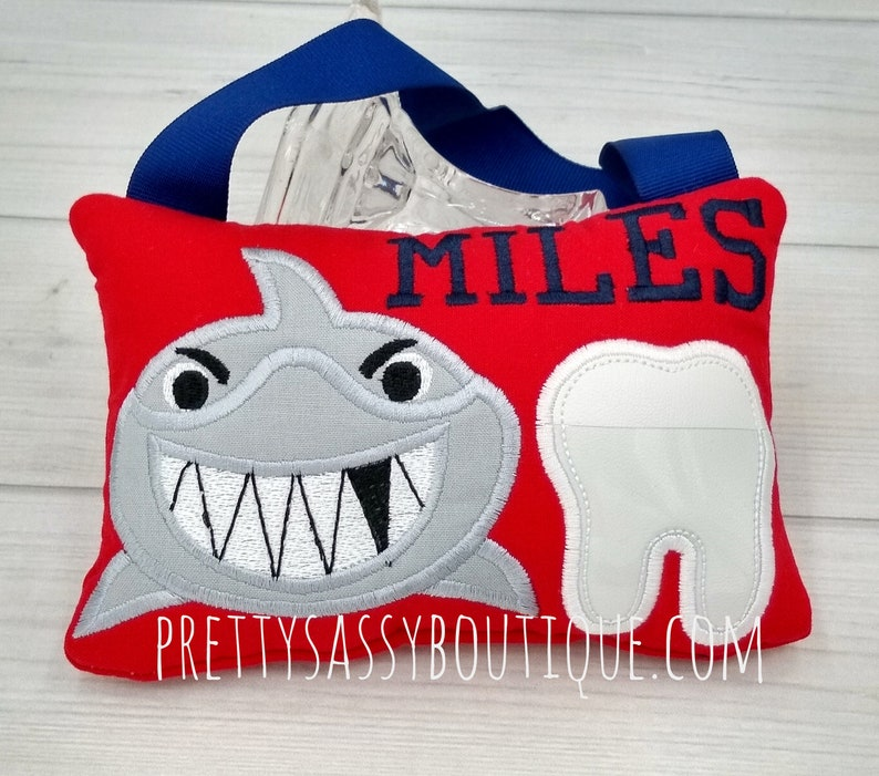 Shark Tooth Fairy Pillow Shark Tooth Pillowpersonalized Gift Etsy