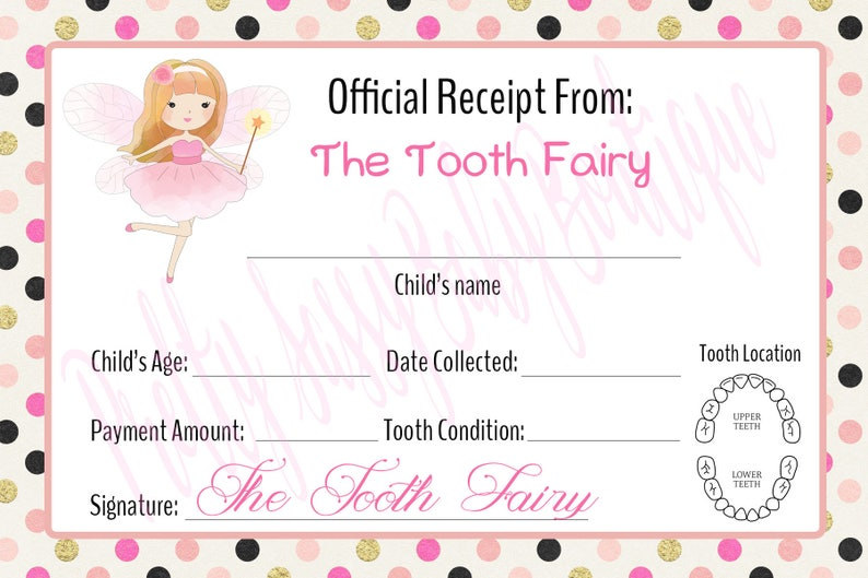 photo about Tooth Fairy Printable Letter named Teeth Fairy Receipt * Electronic Teeth Fairy Letter * Printable Teeth Fairy Be aware * Immediate Obtain Teeth Fairy Teeth Receipt *