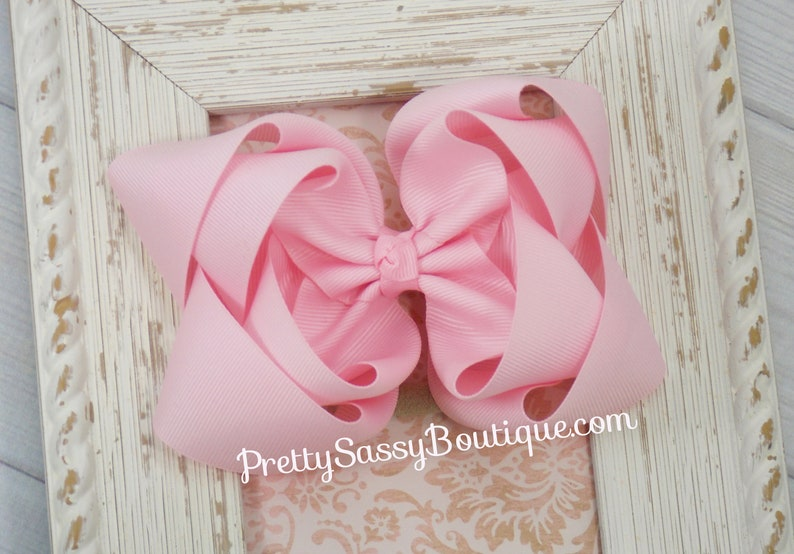 fe46f9ebbdb Double Stacked Hair Bow,5 inch Bows, Large,Big, Pink, Headband, Baby shower  gift set, School, Girl, Birthday, Christmas, 5 in bow