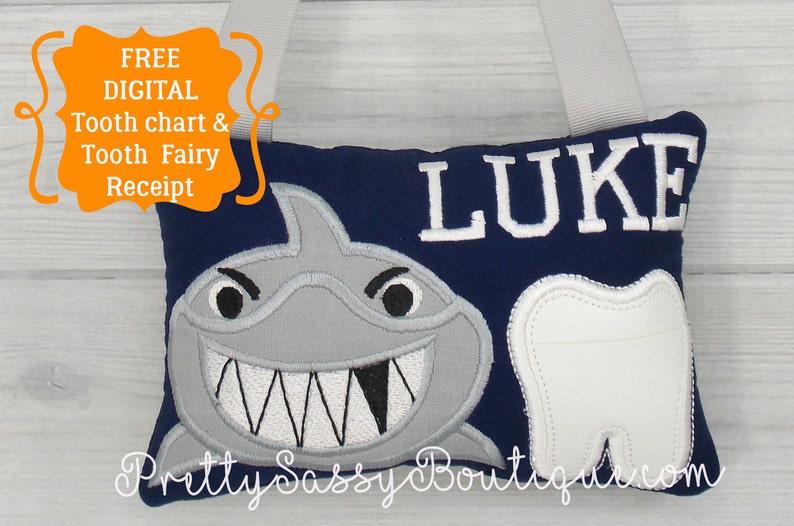 Shark Tooth Fairy Pillow Shark Tooth Pillownautical Nursery Etsy
