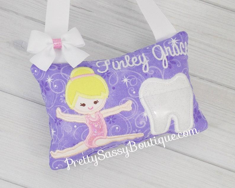 Baptism Birthday Gymnast tooth fairy pillow Girl Kindergarten Babyshower Christening Gift Gymnastics,Dance Summer Sports School