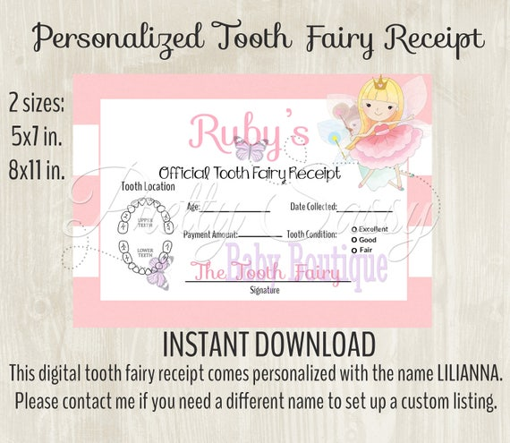 photo relating to Tooth Fairy Printable named Enamel Fairy Receipt * Printable enamel chart, Instantaneous Down load Enamel Fairy Enamel Receipt, Teeth Fairy printables