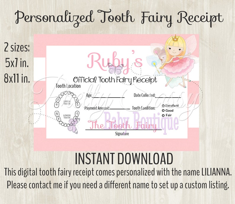 picture relating to Receipt Printable named Enamel Fairy Receipt * Printable teeth chart, Prompt Down load Teeth Fairy Enamel Receipt, Enamel Fairy printables