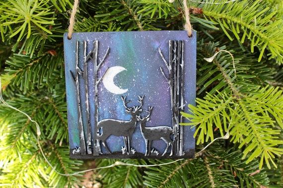 Northern Lights Reindeer Ornament