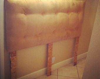 Tan Suede Tuft Headboard