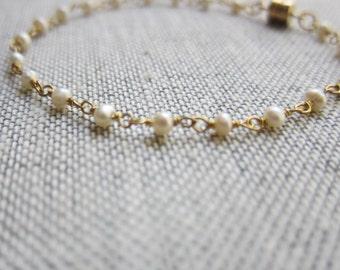 Pearl Bracelet,Dainty Pearl Bracelet Gold,Dainty Braclet,30th Anniversary Gift,Pearl Chain Bracelet,Delicate Bracelet,Pearl Jewelry,Pearls