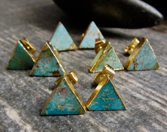 Gold Studs Triangle,Turquoise Earrings Stud,Turquoise Studs,Stud Earrings,Turquoise Earrings Gold,Turquoise Stud EarringsTurquoise Jewelry