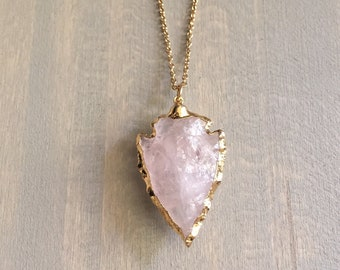 large crystal stone necklace Blush Pink Rose Quartz necklace with white geode Valentine/'s day necklace long gold statement necklace