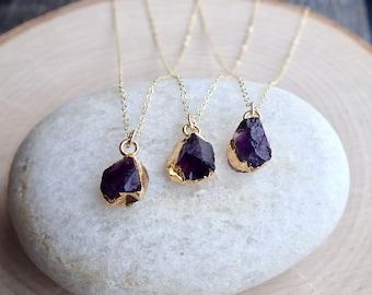 Raw Amethyst Necklace,Amethyst Necklace,Amethyst Jewelry,Birthstone Necklace Gift, Handmade Jewelry, Gold Edge Gemstone, February Birthstone