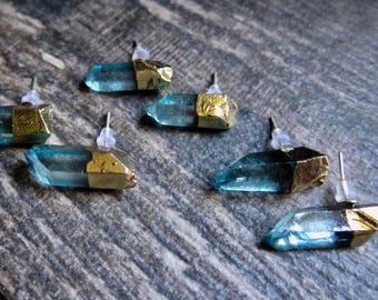Raw Gemstone Studs,Quartz Earrings,Gemstone Earrings,Quartz Stud Earrings,Stud Earrings,Crystal Point Studs,Aqua Aura,Quartz,Studs,Earring