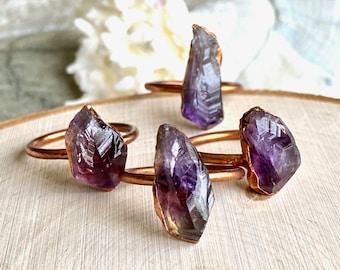 Amethyst Ring,Raw Amethyst Ring,Amethyst Jewelry,Raw Gem Ring,Birthstone Jewelry,Electroformd Ring,Raw Crystal Ring,Crystal Ring,Copper Ring