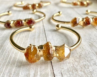 Citrine Bracelet, Raw Citrine Bracelet, Gold Cuff Bracelet, Raw sTone Cuff, Raw Stone Bracelet, Citrine Jewelry,Gemstone Bangle Bracelet