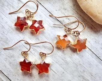 Raw Carnelian Gemstone Earrings, Carnelian  Earrings, Carnelian Jewelry, Healing Crystal Gift, Orange Crystal Earrings,August Birthstone