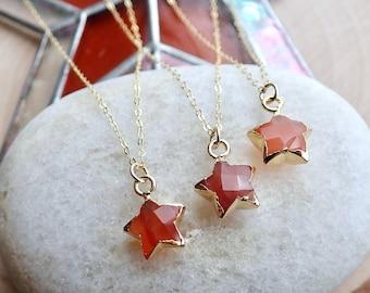Raw Carnelian Gemstone Necklace,Dainty Carnelian Necklace,Star Charm Necklace,Carnelian Jewelry,Healing Crystal Gift,Crystal Charm Necklace