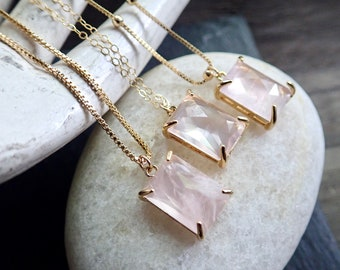 Rose Quartz Necklace, Pink Crystal Necklace, Gemstone Charm Necklace, Healing Crystal Jewelry,Gold Satellite Chain Necklace,Gold Rose Quartz