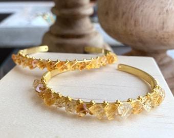 Raw Citrine Bracelet,Citrine Bracelet,Rough Citrine Cuff,Yellow Crystal Bangle,Handmade Jewelry Gift,Gemstone Bracelet,November Birthstone