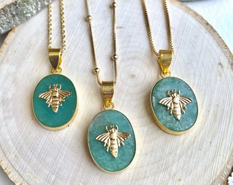 Bee Necklace, Amazonite Layering Necklace,Honey Bee Medallion Pendant,Healing Crystal Necklace,Bumblebee Charm Necklace,Handmade Jewelry