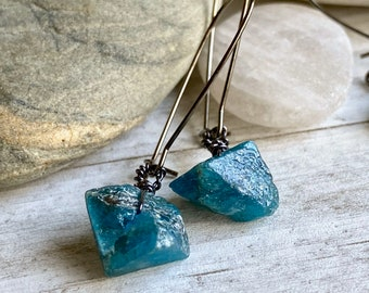 Raw Apatite and Amazonite Delicate Raw Stone Earrings Healing Stone Earrings Raw Stone Jewelry Raw Blue Crystal Long Earrings
