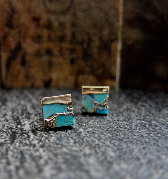 Sterling Silver earring,Dainty gift for college wear,ETER1031 Handmade oxidized Stud,Turquoise post earring,Turquoise earring