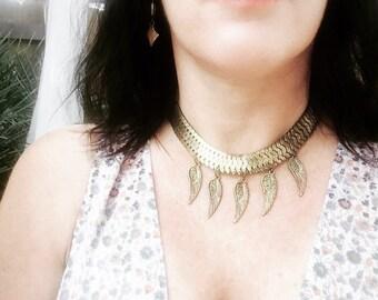Choker Necklace Gold,Tribal Choker Necklace,Feather Jewelry,Feather Necklace Gold Choker,Maat Feather Choker,Gold Choker,Feather Jewelry