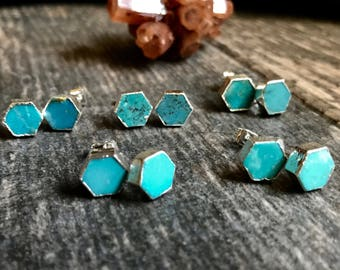 Turquoise Studs Earrings,Stud Earrings,Turquoise Earrings Silver,Hexagon Studs ,Turquoise Studs,Turquoise, Earrings,Turquoise Jewelry,Studs