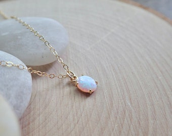 Super Dainty Opal Necklace, Dainty Layering Opal Necklace, October Birthstone Gift, Opal Jewelry,Bridesmaids Gift ,Small Gemstone Necklace