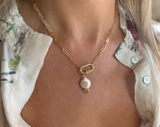Large Link Necklace Pearl Necklace CZ Heart Necklace Spirited Heart Necklace Chunky Chain Necklace