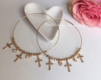 Divine Cross Hoop Earrings, Cross Earrings, Large Hoop Earrings, Cross Hoop Earrings