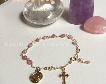 Blessed Rosary Bracelet, Rosary Bracelet, Religious Jewelry, Cross Bracelet, Confirmation Gift, Wedding