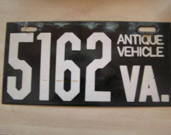 Porcelain VA Antique Vehicle License Plate