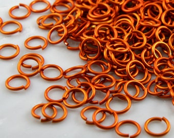 18 ga 3/16, 200 Orange Anodized Aluminum Chain Mail Jump Rings