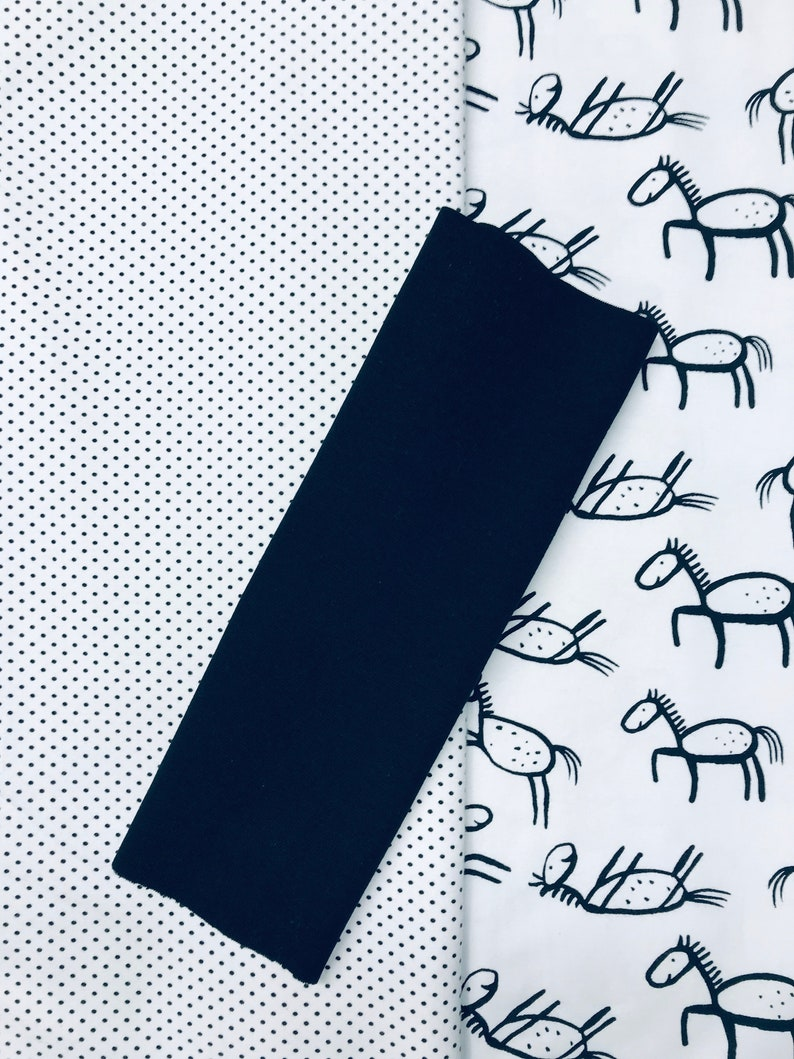 cuffs black horses and dots 2x 0.5 m Fabric package jersey 0.25 m cuffs