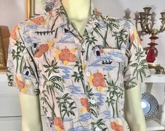 628cdd6c8 1990s Hawaiian Shirt by Utility - Vintage Hawaiian Shirt Boys' L 10-12 or  Women's S - Cotton + Rayon Hawaiian Shirt - Vintage Summer