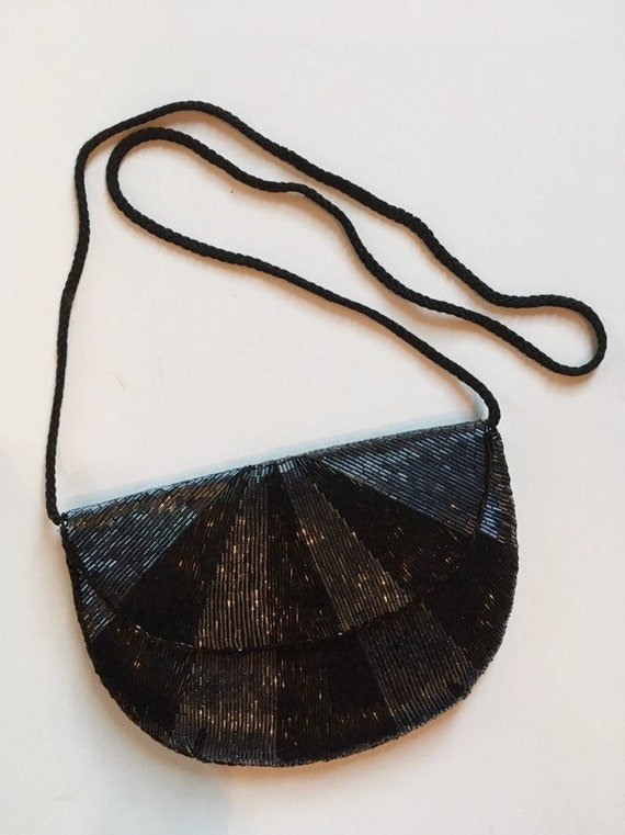 Black Beaded Evening Bag - Vintage 1980s Black + S