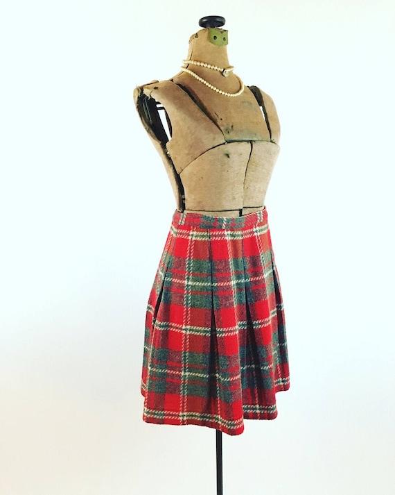 Vintage Wool Mini Skirt - 1960s Plaid Wool Pleated