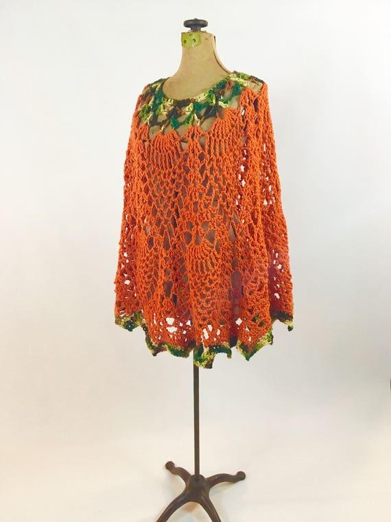 Crocheted Poncho - Orange Poncho - 1970s Poncho -