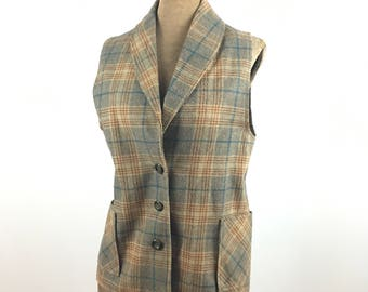 Plaid Wool Vest - Vintage Women's Wool Vest by Movin' Along - Brown Plaid Button Front Vest - 1970s Women's Fashion - Vintage Plaid Vest
