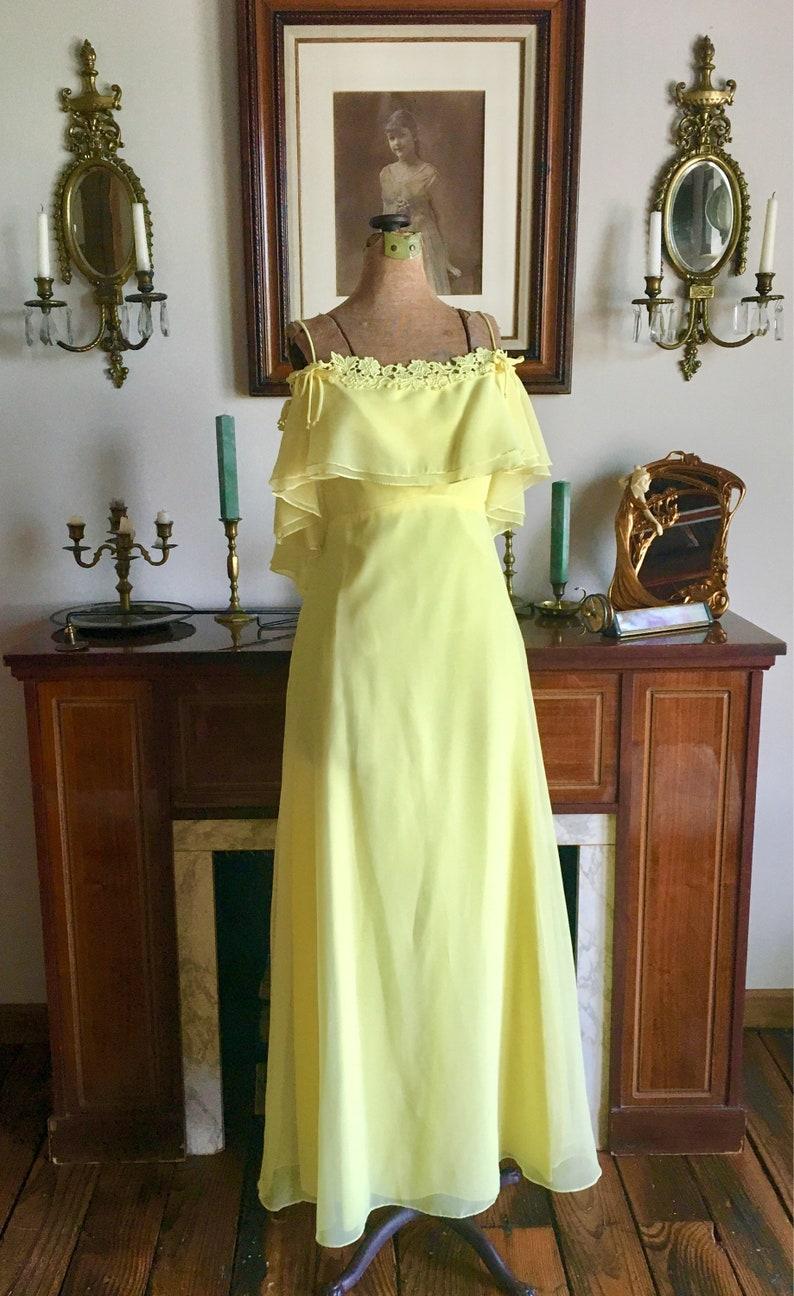 Prom Vintage 1970s Yellow Chiffon Wedding Vintage Yellow Chiffon Maxi 1970s Yellow Gown Lace Maxi Vintage Gown Spaghetti Straps