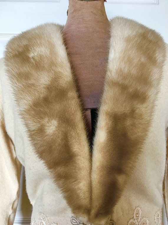 1950s Cashmere Cardigan with Fur Collar - 50s Mink