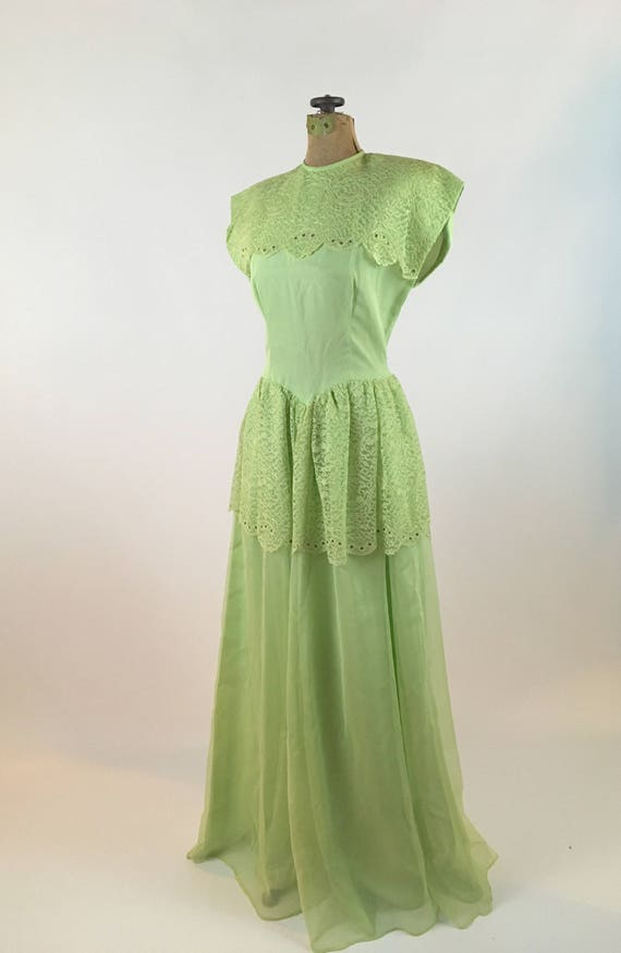 1940s Dress Vintage Pistachio Green Formal Gown 1940s Etsy