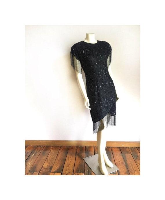 Vintage Black Beaded Dress by Stenay - 1980s Black