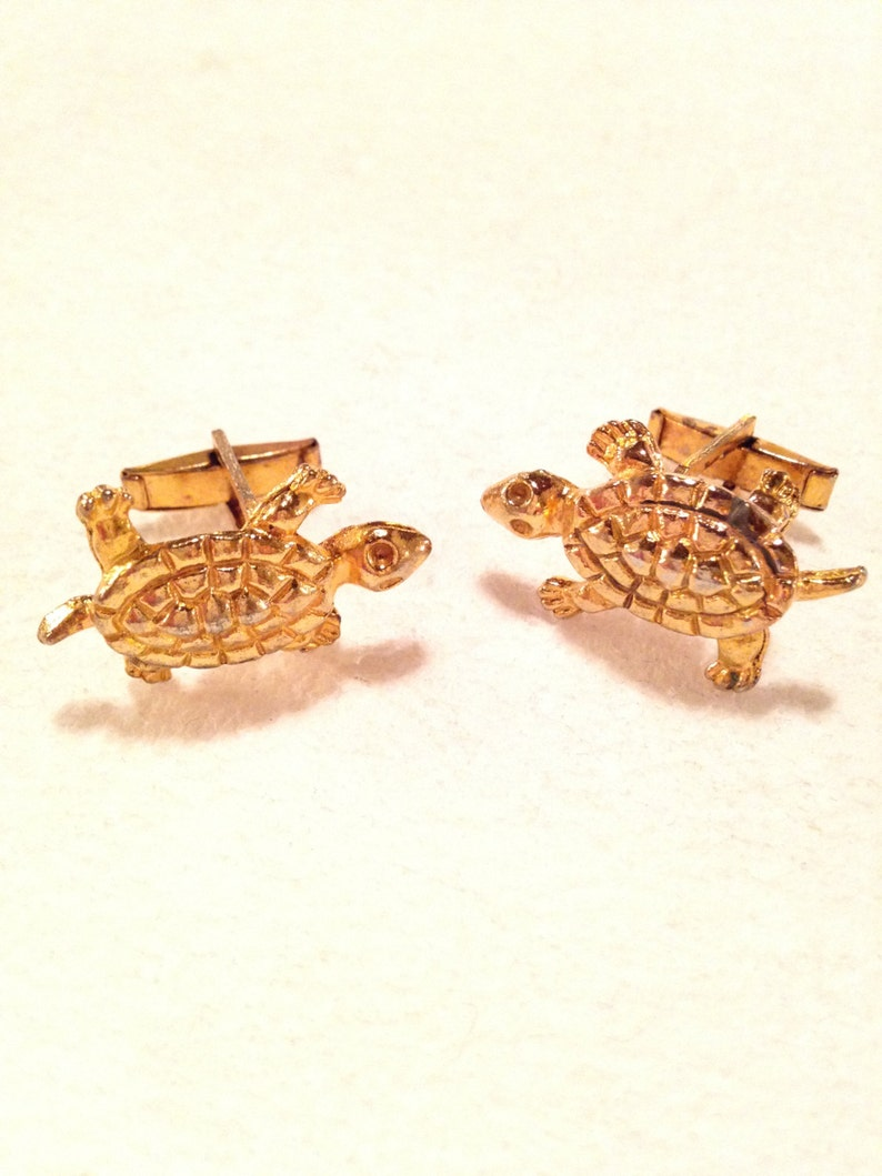 1950s Cuff Link Amphibian Vintage Men/'s Jewelry Vintage Novelty Cuff Link Sea Turtle Reptile Turtle Cufflinks Turtle Jewelry