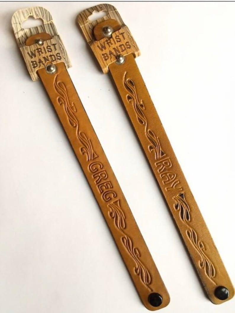 1970s Deadstock Men\u2019s Leather Name ID Bracelet 1970s Men\u2019s Leather Bracelet 1970s Men\u2019s Hippie Fashion Jewelry RAY Leather Bracelet