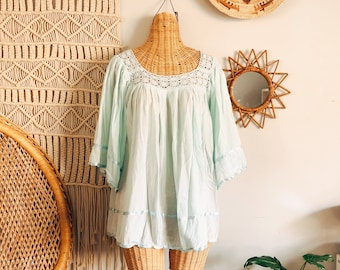 1ec2adfb9f3 Vintage Aqua Cotton Gauze Crochet Mexican Bohemian Festival Angel Sleeves  Blouse Top Free Size
