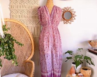 1f24a8b230 Indian Floral Print Cotton Gauze Bohemian Hippie Gypsy Festival Harem  Jumpsuit M