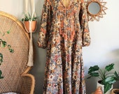 Indian Floral Print Cotton Bohemian Tiered Maxi Dress M